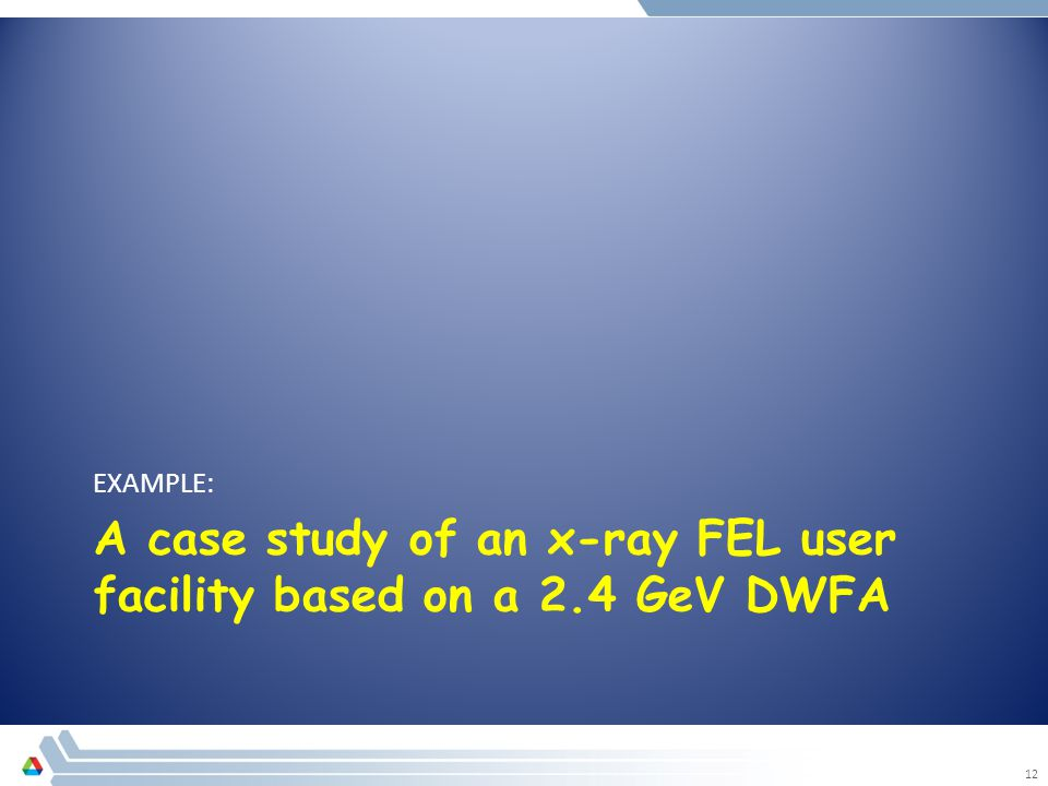 A case study of an x-ray FEL user facility based on a 2.4 GeV DWFA EXAMPLE: 12