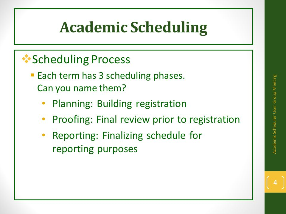 Academic Scheduling  Scheduling Process: Planning Phase  Departments build schedule in PeopleSoft.