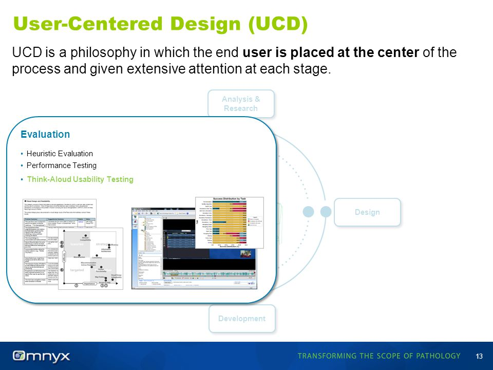 Development Evaluation User-Centered Design (UCD) 13 UCD is a philosophy in which the end user is placed at the center of the process and given extens