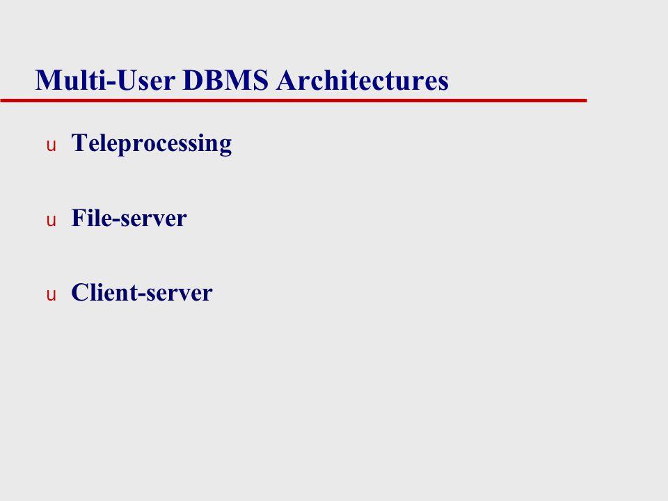Multi-User DBMS Architectures u Teleprocessing u File-server u Client-server