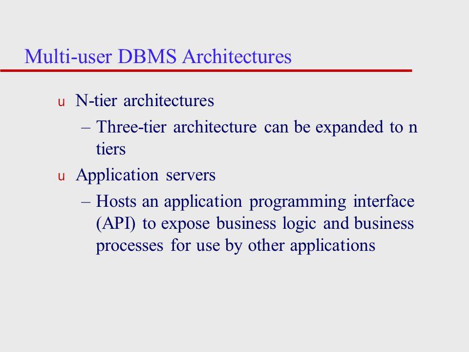 Multi-user DBMS Architectures u N-tier architectures –Three-tier architecture can be expanded to n tiers u Application servers –Hosts an application p