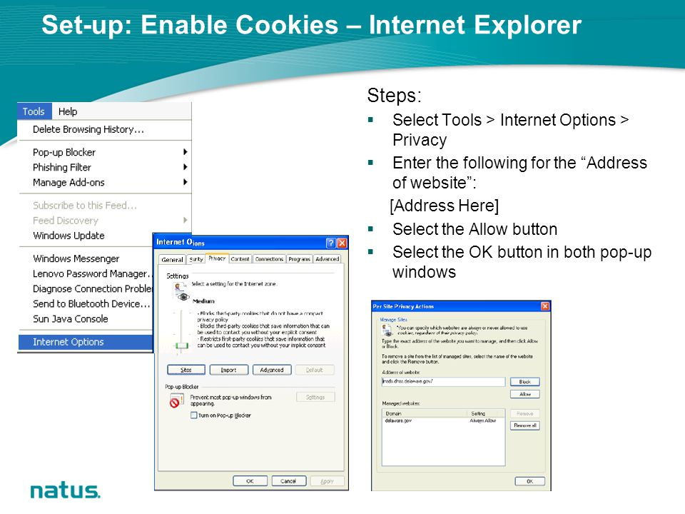 Set-up: Enable Cookies – Internet Explorer Steps:  Select Tools > Internet Options > Privacy  Enter the following for the Address of website : [Address Here]  Select the Allow button  Select the OK button in both pop-up windows