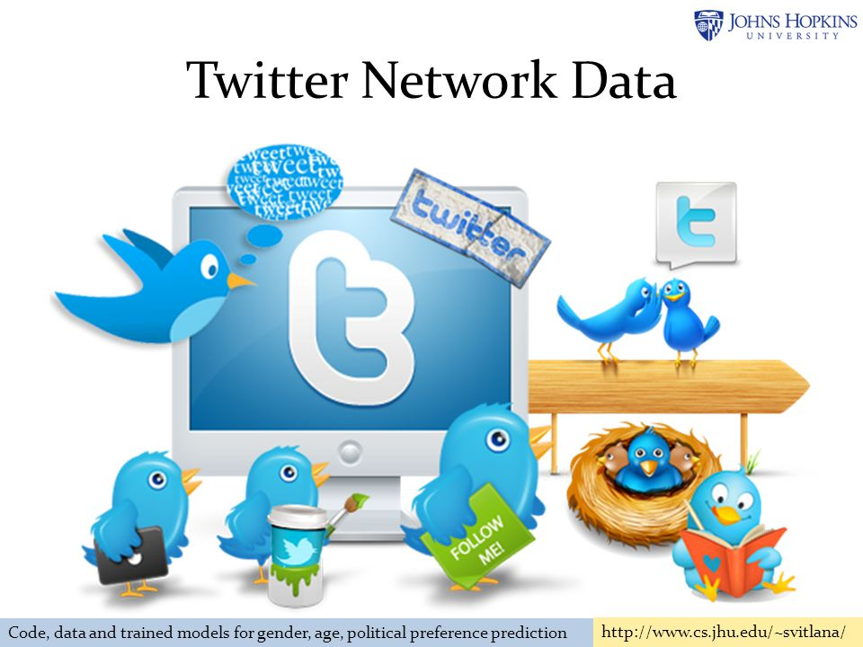 Twitter Network Data Code, data and trained models for gender, age, political preference prediction http://www.cs.jhu.edu/~svitlana/