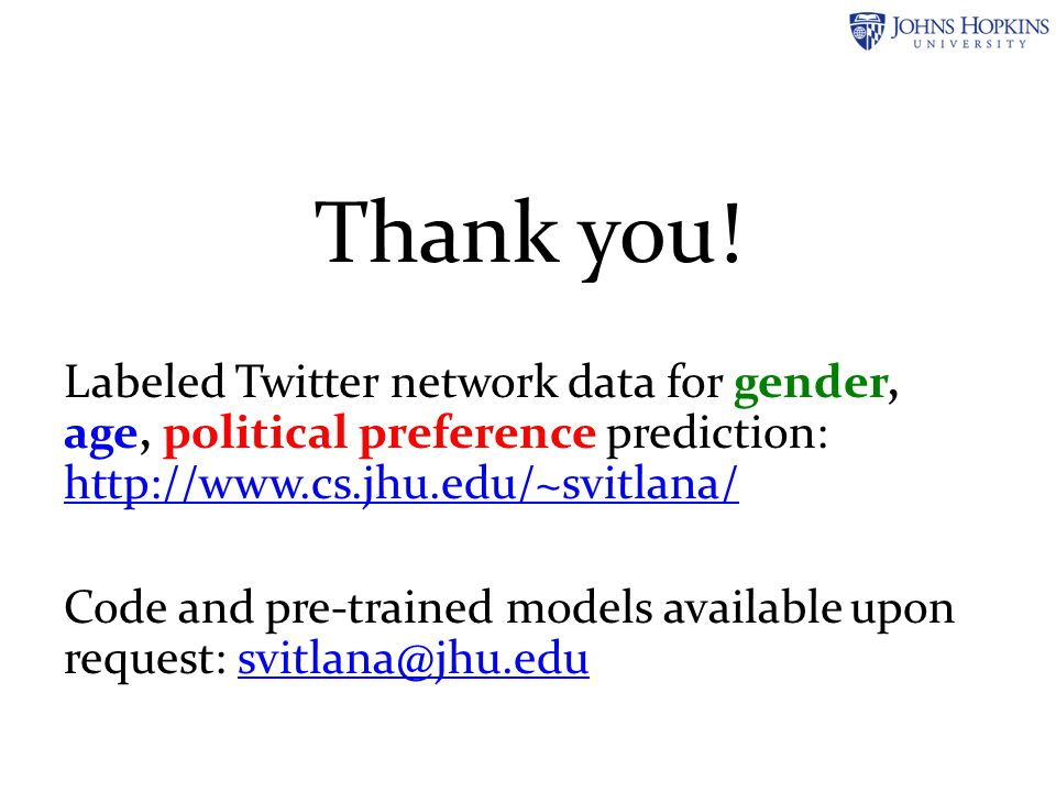 Thank you! Labeled Twitter network data for gender, age, political preference prediction: http://www.cs.jhu.edu/~svitlana/ http://www.cs.jhu.edu/~svit