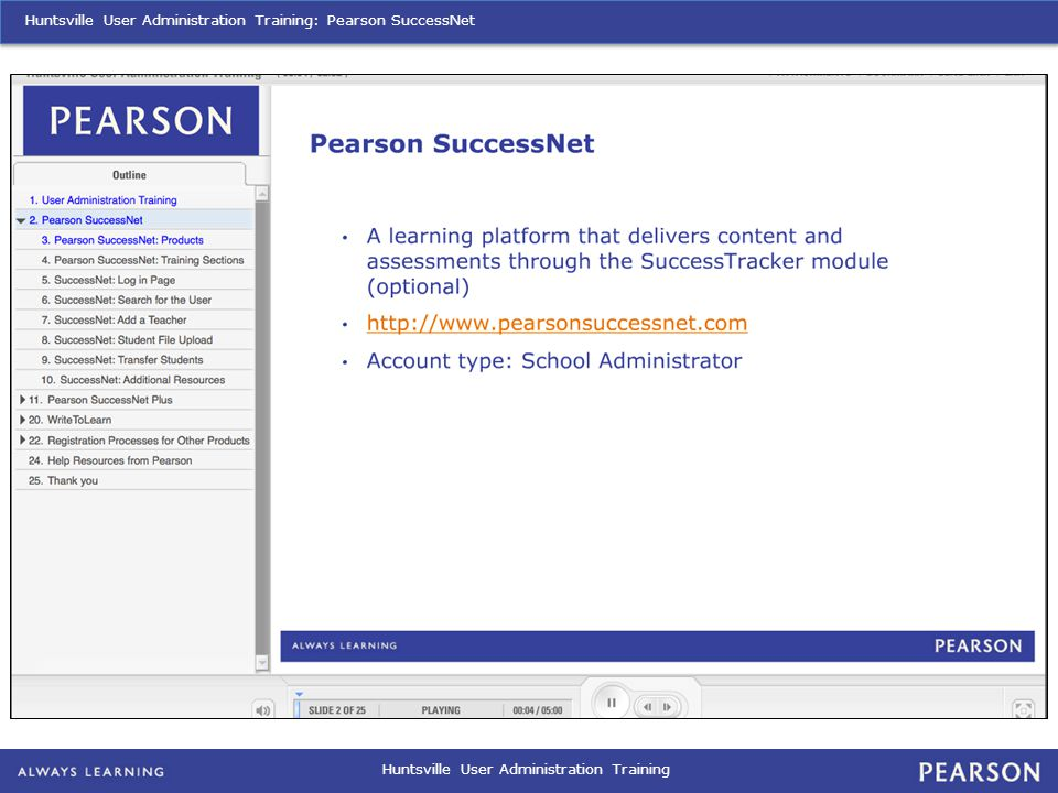 Huntsville User Administration Training: Pearson SuccessNet