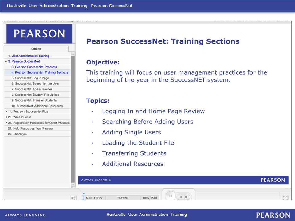 Huntsville User Administration Training Huntsville User Administration Training: Pearson SuccessNet