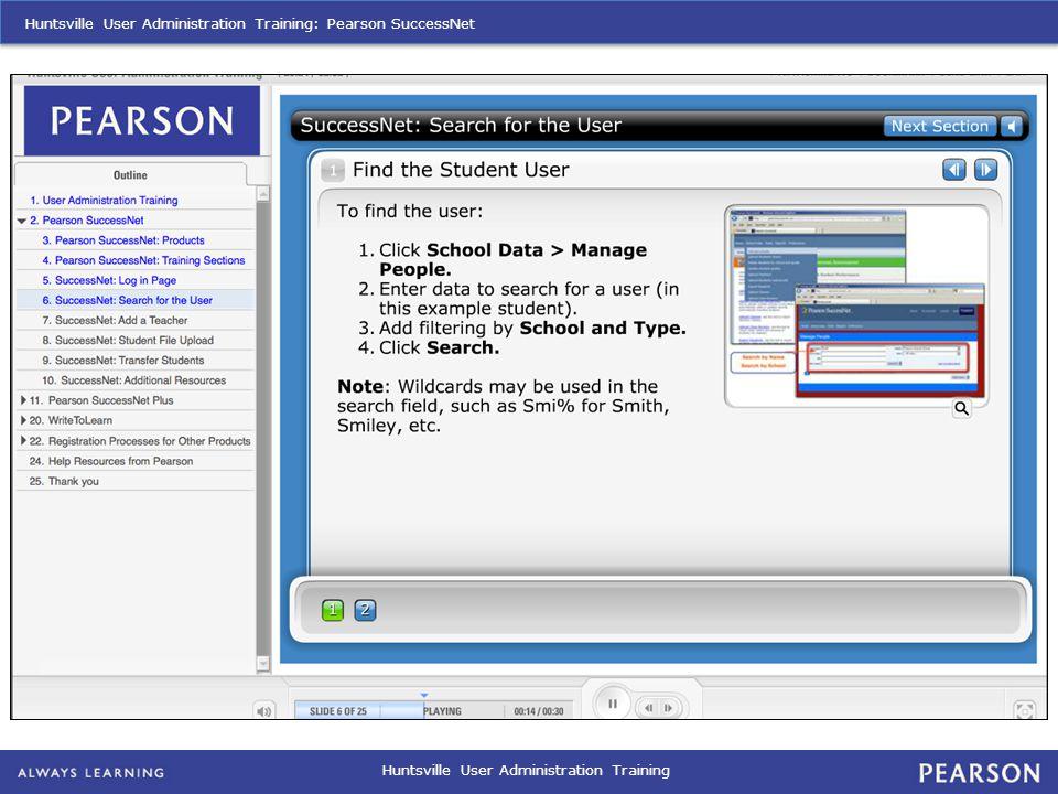 Huntsville User Administration Training Huntsville User Administration Training: Pearson SuccessNet