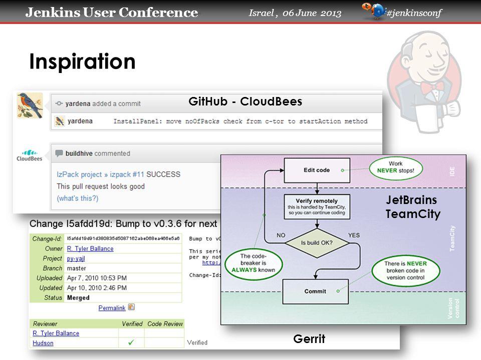 Jenkins User Conference Jenkins User Conference Israel, 06 June 2013 #jenkinsconf Inspiration GitHub - CloudBees JetBrains TeamCity Gerrit