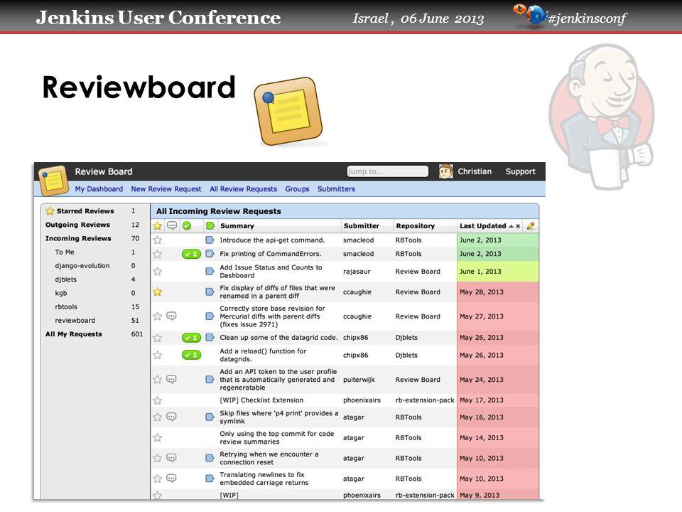 Jenkins User Conference Jenkins User Conference Israel, 06 June 2013 #jenkinsconf Reviewboard