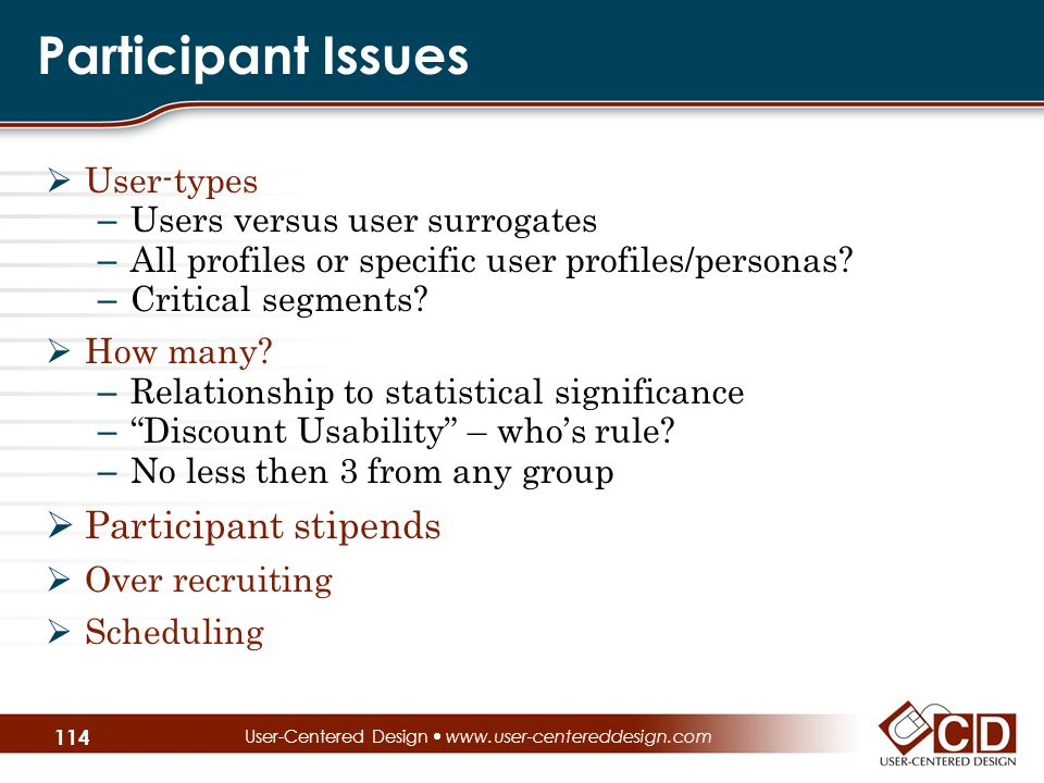 Participant Issues  User-types – Users versus user surrogates – All profiles or specific user profiles/personas.