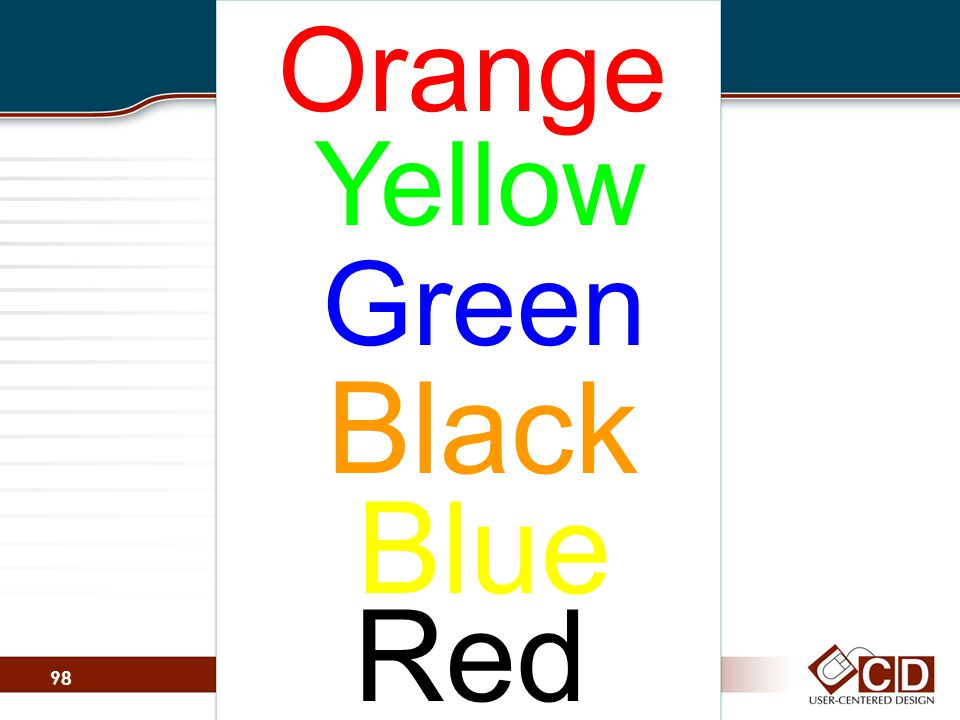 Orange Yellow Green Black Blue Red 98