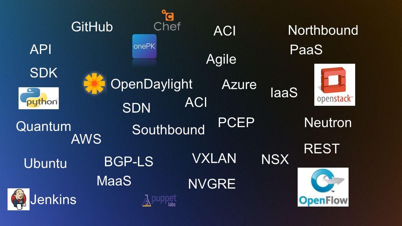 API REST AWS PaaS IaaS MaaS VXLAN SDN Ubuntu Agile NVGRE ACI BGP-LS PCEP GitHub ACI NSX Southbound Northbound Neutron Quantum SDK Azure Jenkins OpenDaylight