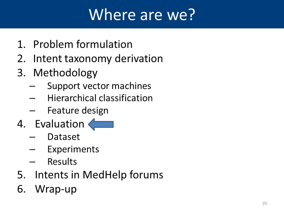 Where are we? 1.Problem formulation 2.Intent taxonomy derivation 3.Methodology – Support vector machines – Hierarchical classification – Feature desig