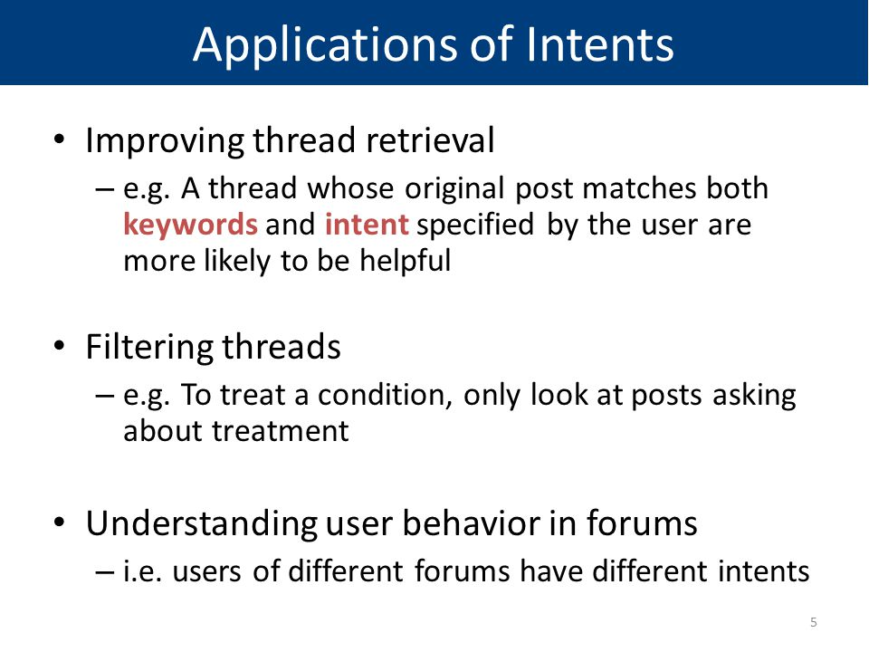 Applications of Intents Improving thread retrieval – e.g. A thread whose original post matches both keywords and intent specified by the user are more