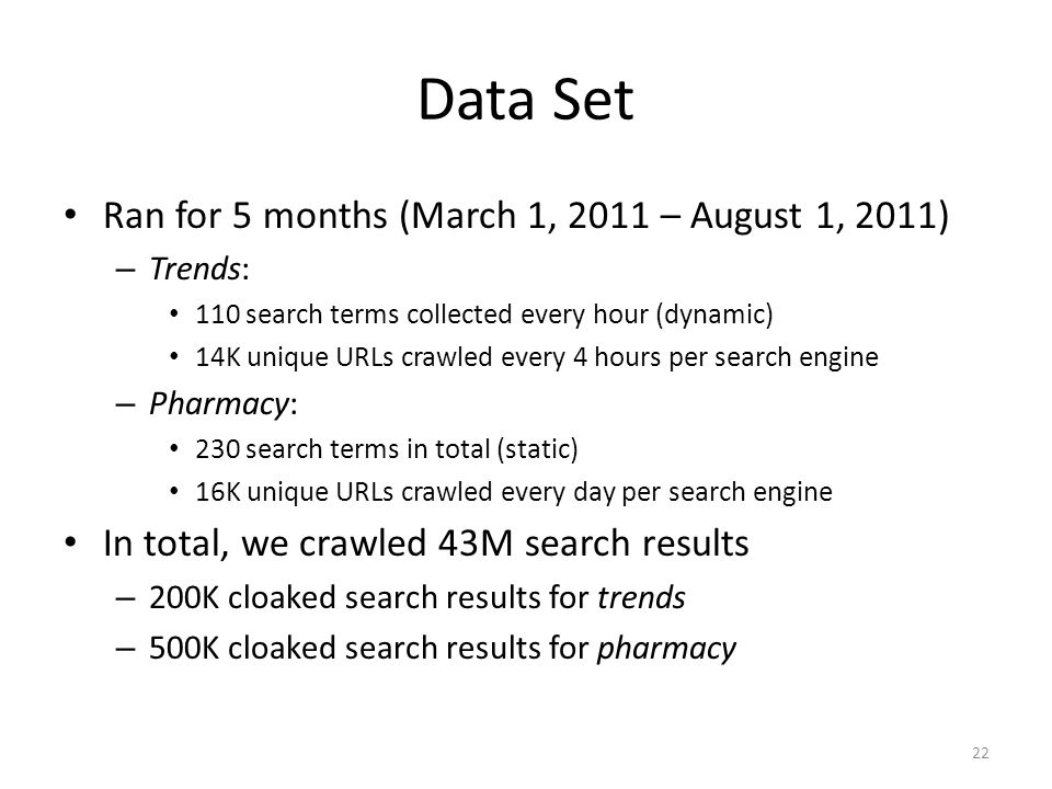 Data Set Ran for 5 months (March 1, 2011 – August 1, 2011) – Trends: 110 search terms collected every hour (dynamic) 14K unique URLs crawled every 4 hours per search engine – Pharmacy: 230 search terms in total (static) 16K unique URLs crawled every day per search engine In total, we crawled 43M search results – 200K cloaked search results for trends – 500K cloaked search results for pharmacy 22