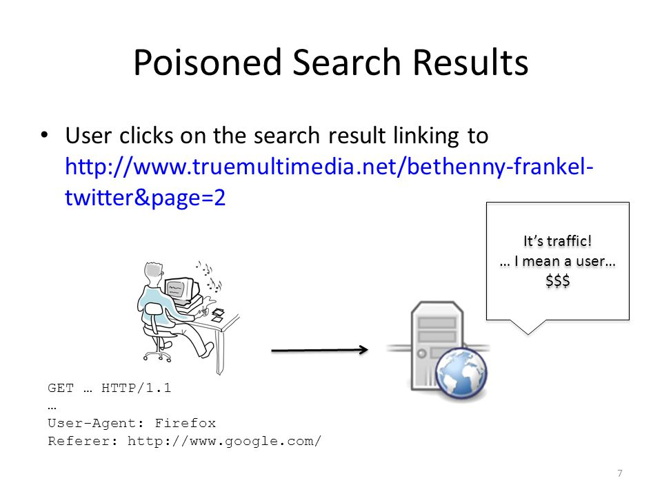 Poisoned Search Results User clicks on the search result linking to http://www.truemultimedia.net/bethenny-frankel- twitter&page=2 7 GET … HTTP/1.1 … User-Agent: Firefox Referer: http://www.google.com/ It's traffic.