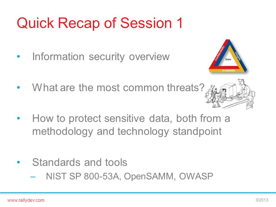 www.rallydev.com ©2013 Quick Recap of Session 1 Information security overview What are the most common threats.