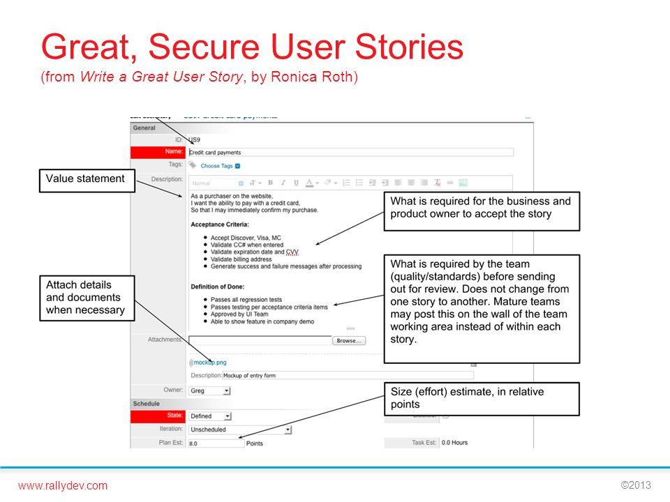 www.rallydev.com ©2013 Great, Secure User Stories (from Write a Great User Story, by Ronica Roth)