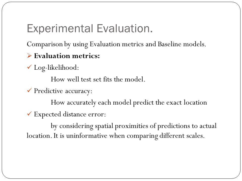 Experimental Evaluation. Comparison by using Evaluation metrics and Baseline models.  Evaluation metrics: Log-likelihood: How well test set fits the