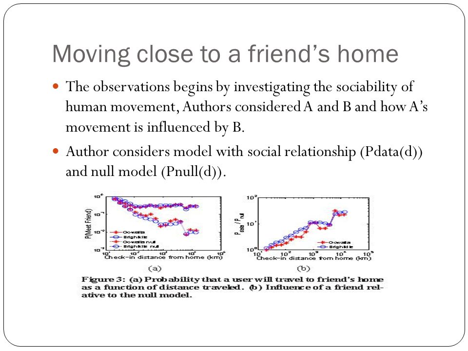 Moving close to a friend's home The observations begins by investigating the sociability of human movement, Authors considered A and B and how A's mov