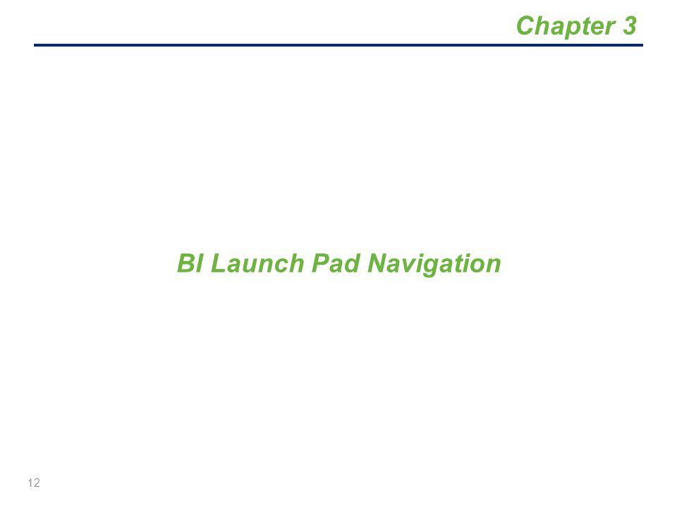 BI Launch Pad Navigation 12 Chapter 3