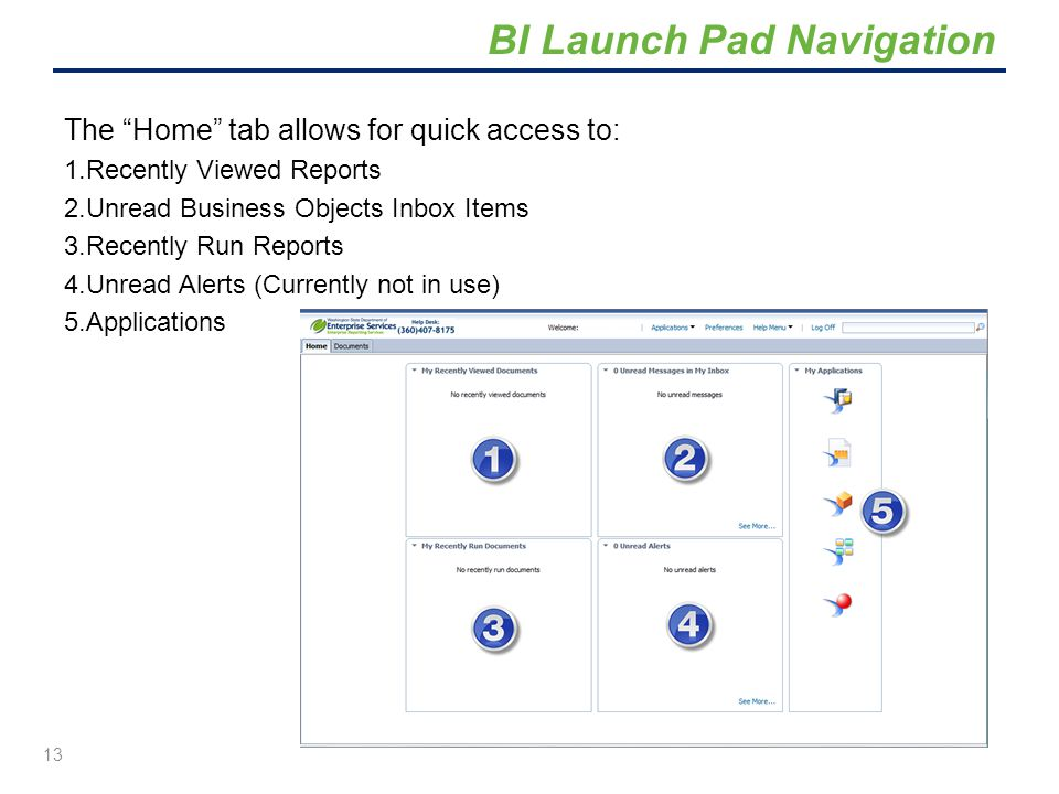 """The """"Home"""" tab allows for quick access to: 1.Recently Viewed Reports 2.Unread Business Objects Inbox Items 3.Recently Run Reports 4.Unread Alerts (Cur"""