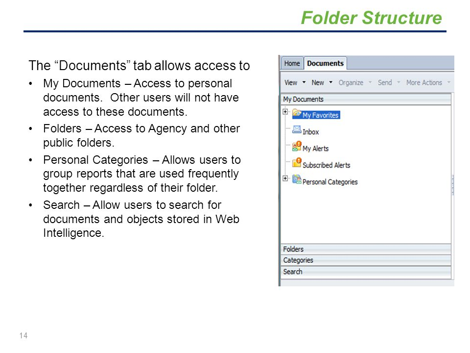 """The """"Documents"""" tab allows access to My Documents – Access to personal documents. Other users will not have access to these documents. Folders – Acces"""