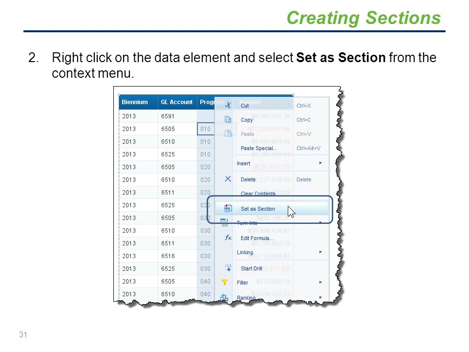 2.Right click on the data element and select Set as Section from the context menu. 31 Creating Sections