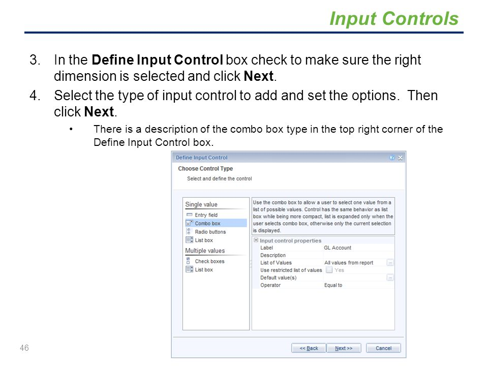 3.In the Define Input Control box check to make sure the right dimension is selected and click Next. 4.Select the type of input control to add and set