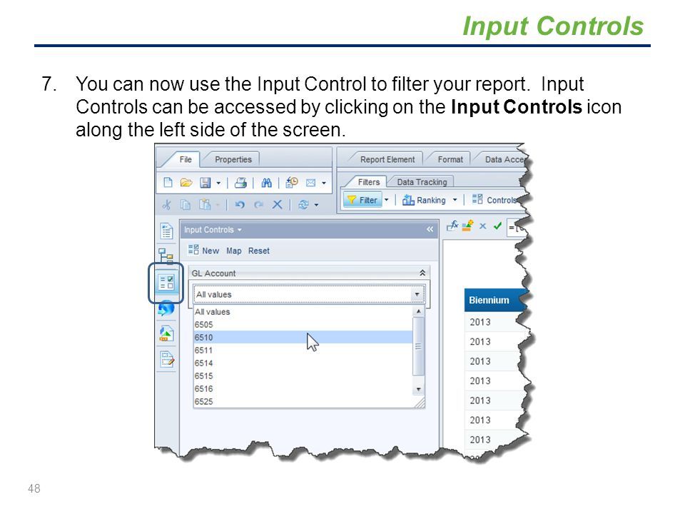 7.You can now use the Input Control to filter your report. Input Controls can be accessed by clicking on the Input Controls icon along the left side o