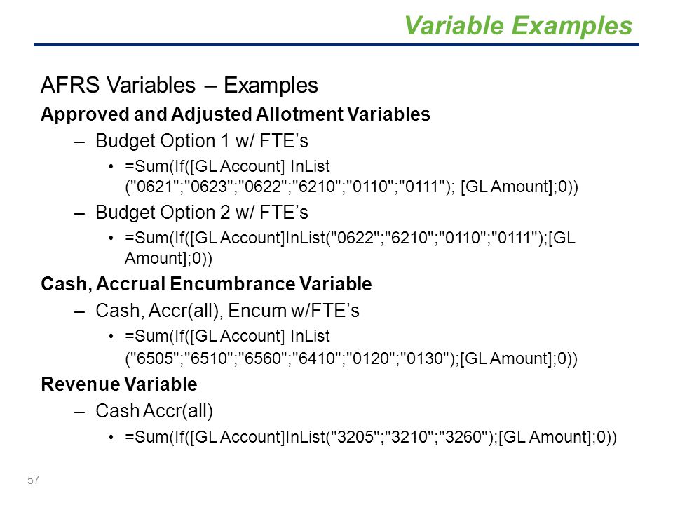 AFRS Variables – Examples Approved and Adjusted Allotment Variables –Budget Option 1 w/ FTE's =Sum(If([GL Account] InList (