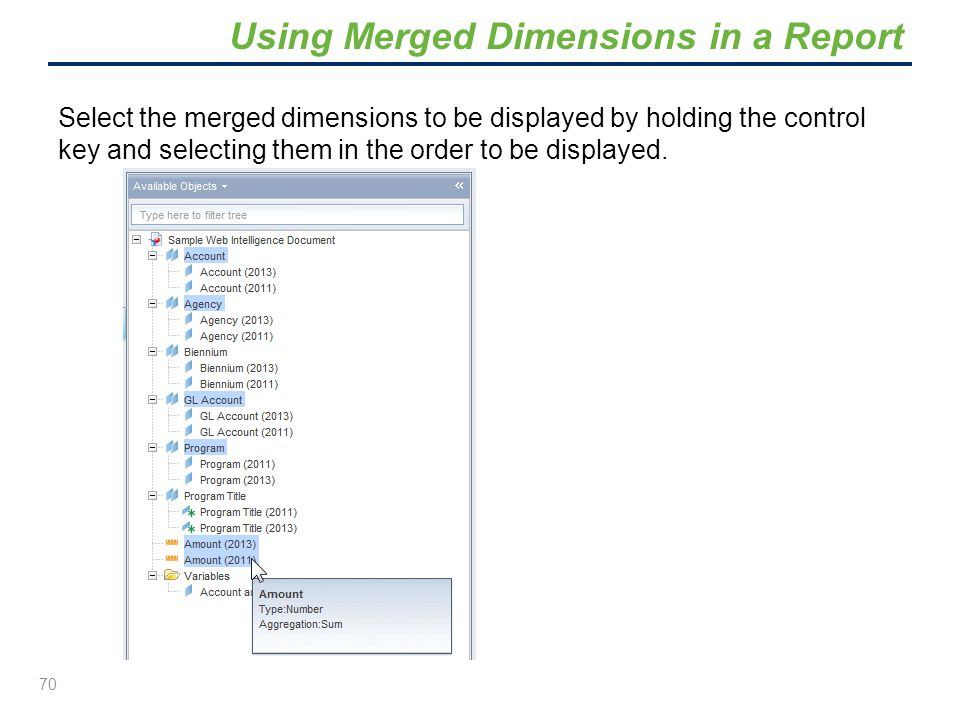 Select the merged dimensions to be displayed by holding the control key and selecting them in the order to be displayed. 70 Using Merged Dimensions in