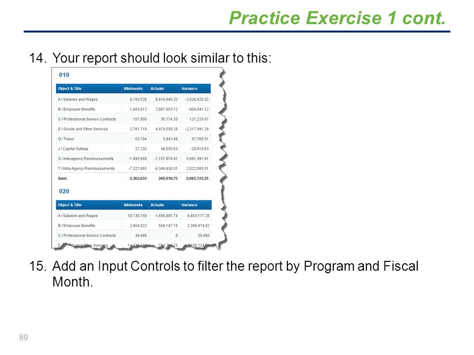 14.Your report should look similar to this: 15.Add an Input Controls to filter the report by Program and Fiscal Month. 89 Practice Exercise 1 cont.