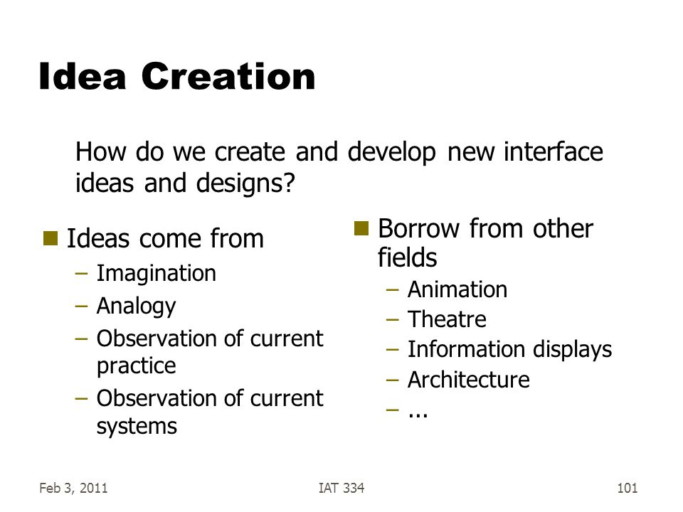 Feb 3, 2011IAT 334101 Idea Creation  Ideas come from –Imagination –Analogy –Observation of current practice –Observation of current systems  Borrow