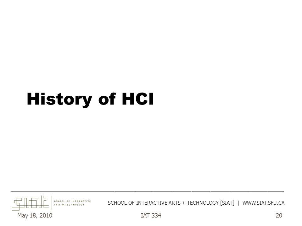May 18, 2010IAT 33420 History of HCI ______________________________________________________________________________________ SCHOOL OF INTERACTIVE ARTS