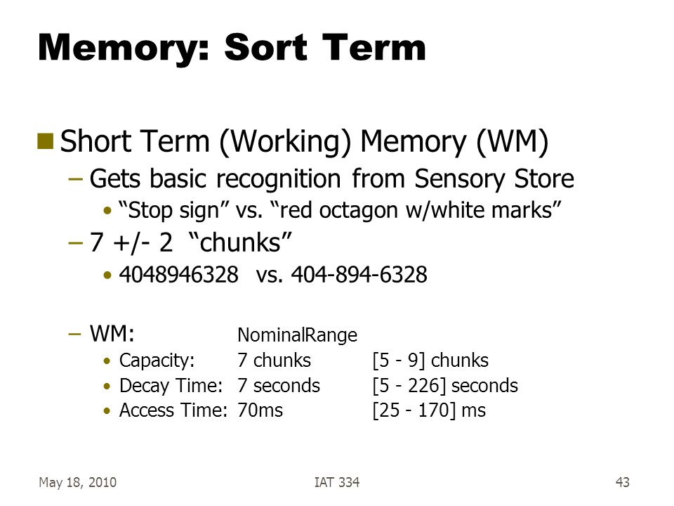 """May 18, 2010IAT 33443 Memory: Sort Term  Short Term (Working) Memory (WM) –Gets basic recognition from Sensory Store """"Stop sign"""" vs. """"red octagon w/w"""