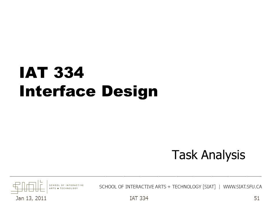 Jan 13, 2011IAT 33451 IAT 334 Interface Design Task Analysis ______________________________________________________________________________________ SC