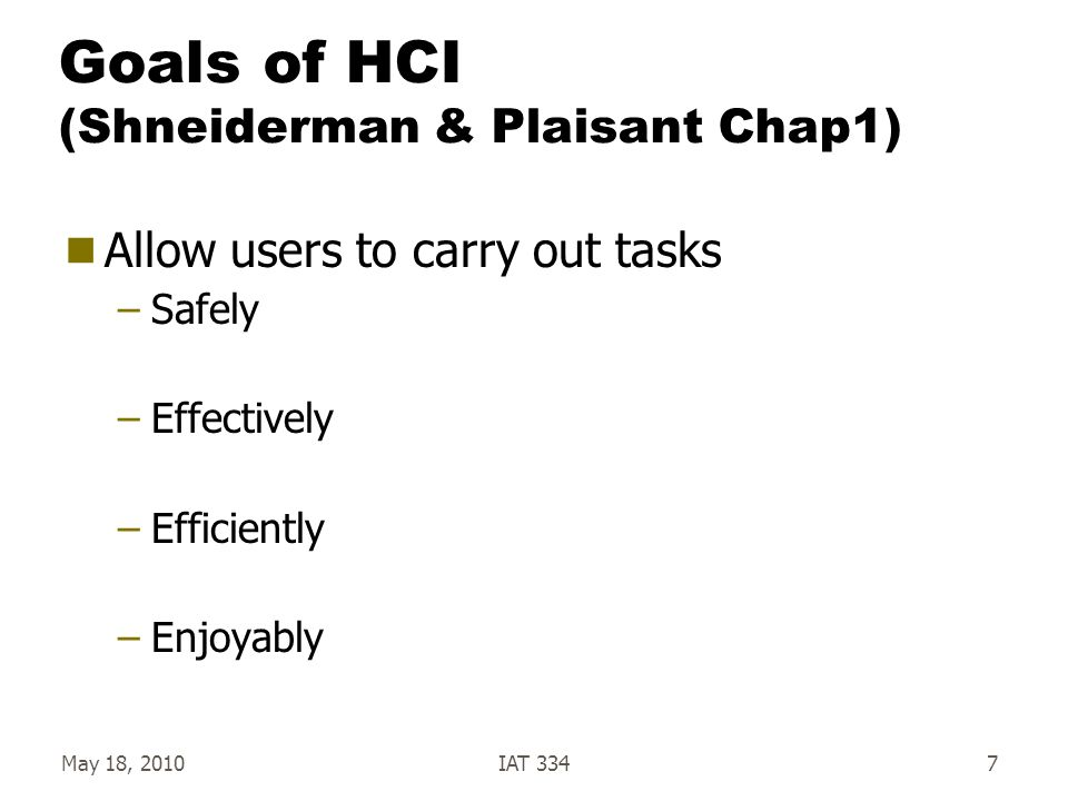 May 18, 2010IAT 3347 Goals of HCI (Shneiderman & Plaisant Chap1)  Allow users to carry out tasks –Safely –Effectively –Efficiently –Enjoyably