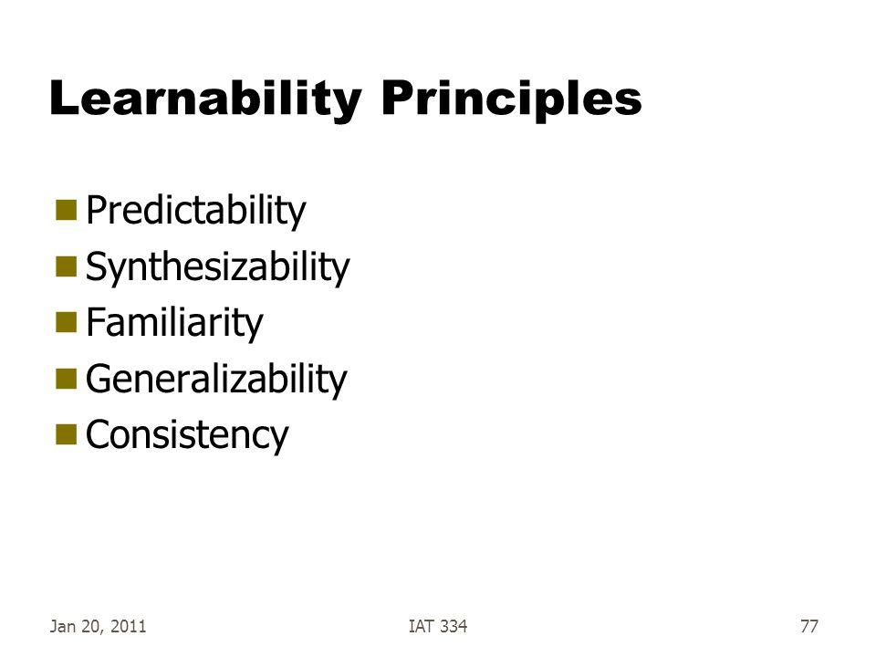 Jan 20, 2011IAT 33477 Learnability Principles  Predictability  Synthesizability  Familiarity  Generalizability  Consistency