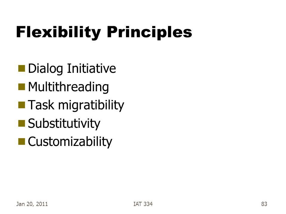 Jan 20, 2011IAT 33483 Flexibility Principles  Dialog Initiative  Multithreading  Task migratibility  Substitutivity  Customizability