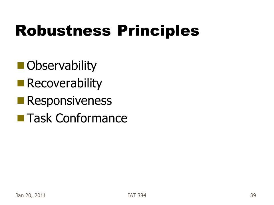 Jan 20, 2011IAT 33489 Robustness Principles  Observability  Recoverability  Responsiveness  Task Conformance