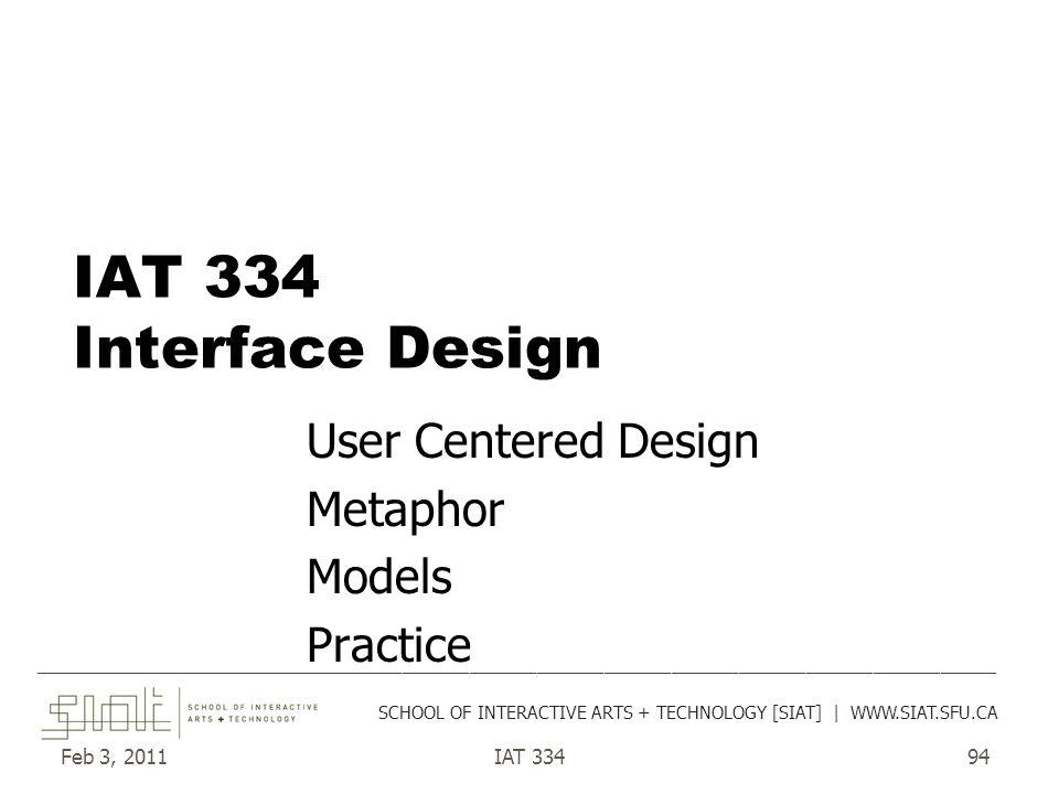 Feb 3, 2011IAT 33494 IAT 334 Interface Design User Centered Design Metaphor Models Practice __________________________________________________________