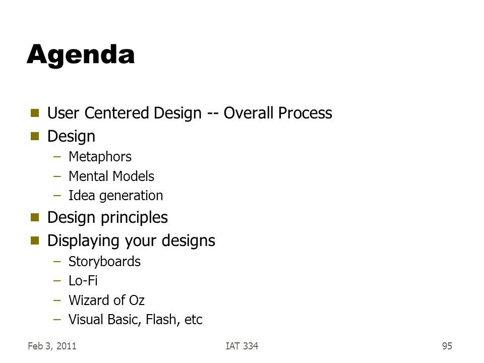 Feb 3, 2011IAT 33495 Agenda  User Centered Design -- Overall Process  Design –Metaphors –Mental Models –Idea generation  Design principles  Displa