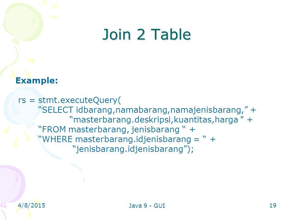 4/8/2015 Java 9 - GUI 19 Join 2 Table Example: rs = stmt.executeQuery( SELECT idbarang,namabarang,namajenisbarang, + masterbarang.deskripsi,kuantitas,harga + FROM masterbarang, jenisbarang + WHERE masterbarang.idjenisbarang = + jenisbarang.idjenisbarang );