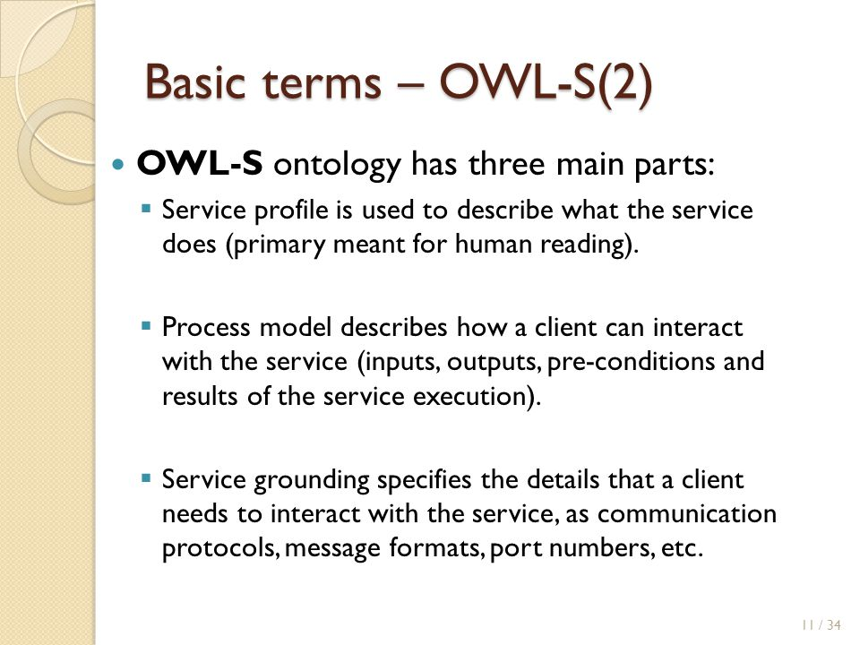Basic terms – OWL-S(2) OWL-S ontology has three main parts:  Service profile is used to describe what the service does (primary meant for human reading).
