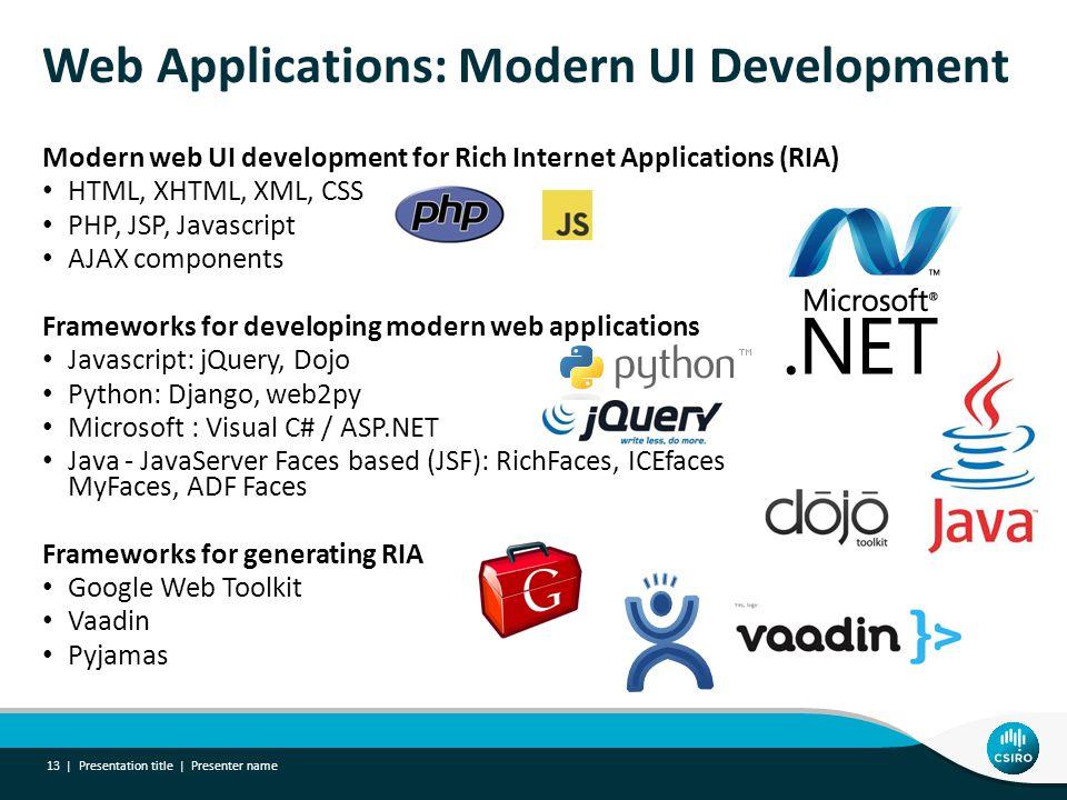 Web Applications: Modern UI Development Modern web UI development for Rich Internet Applications (RIA) HTML, XHTML, XML, CSS PHP, JSP, Javascript AJAX