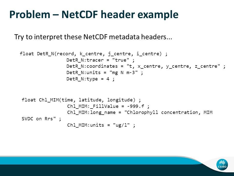 Problem – NetCDF header example float DetR_N(record, k_centre, j_centre, i_centre) ; DetR_N:tracer =