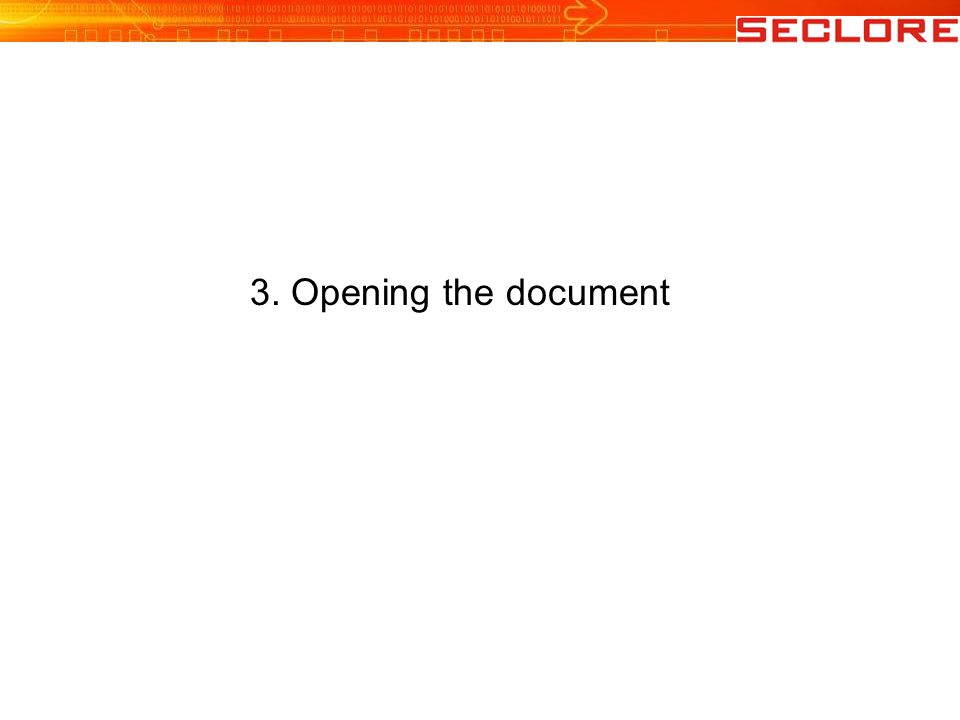 3. Opening the document