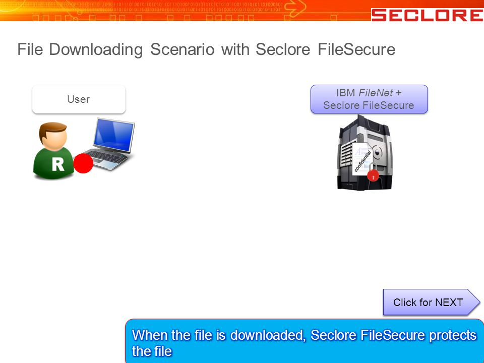 File Downloading Scenario with Seclore FileSecure IBM FileNet + Seclore FileSecure User Click for NEXT