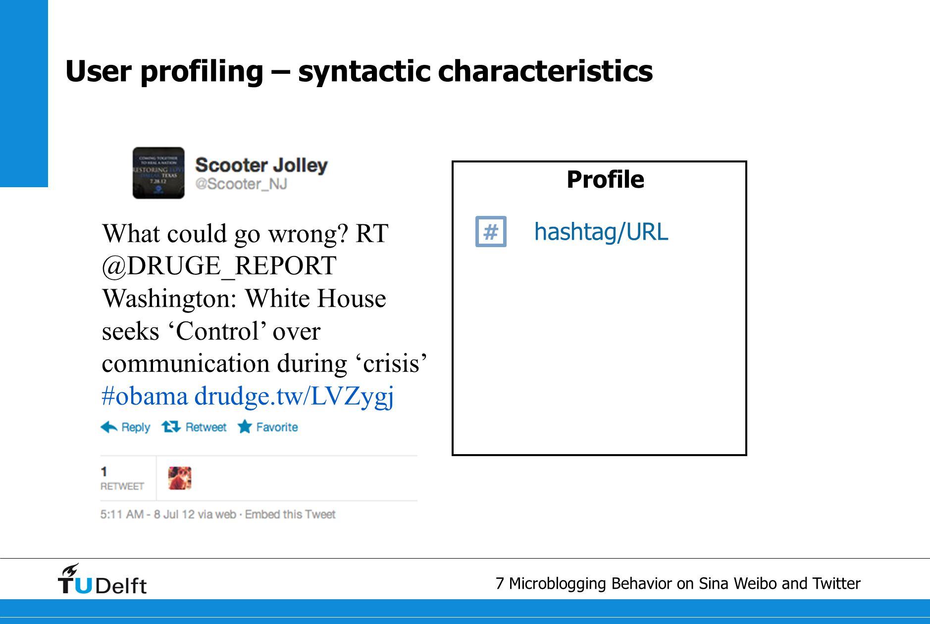 8 Microblogging Behavior on Sina Weibo and Twitter User profiling – semantic characteristics Profile hashtag/URL # entity What could go wrong.